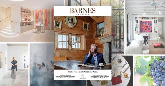 Nouvelle édition du magazine BARNES avec l'invité principal en page de couverture, et diverses images en arrière-plan représentant l'Art et l'immobilier.